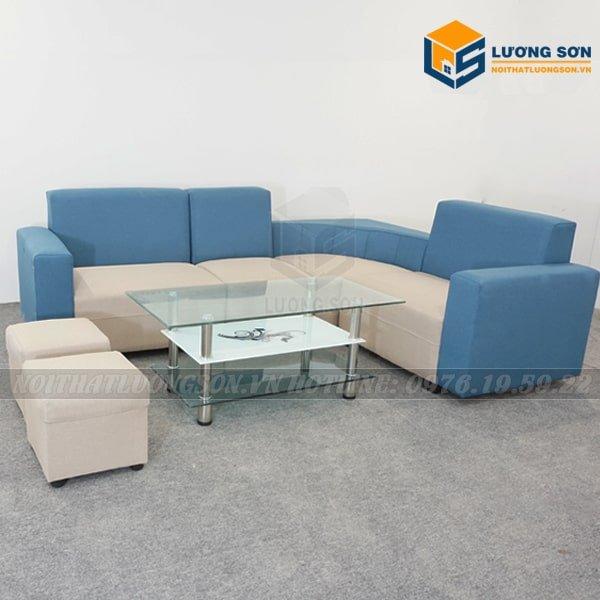 Sofa góc nỉ xanh kem - SFG01 thường kết hợp với dòng bàn trà kính như hình