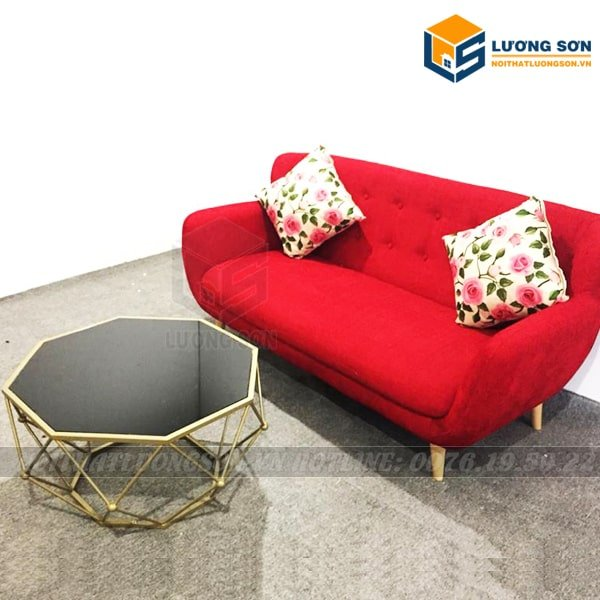 Sofa văng nỉ đỏ 1m6 - SFV03 thương kết hợp với bàn trà cỡ nhỏ