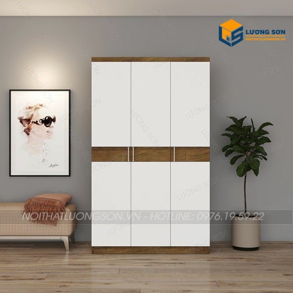 Tủ áo TA09 thiết kế hiện đại với phần cánh trắng xen giữa viền nâu giúp không gian rộng hơn