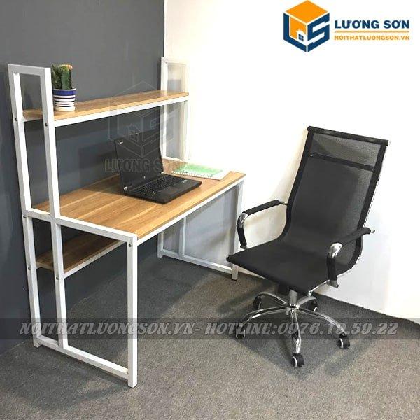 Bàn làm việc giá sách trước BLV13 khung trắng kết hợp cùng ghế xoay lưới lưng cao