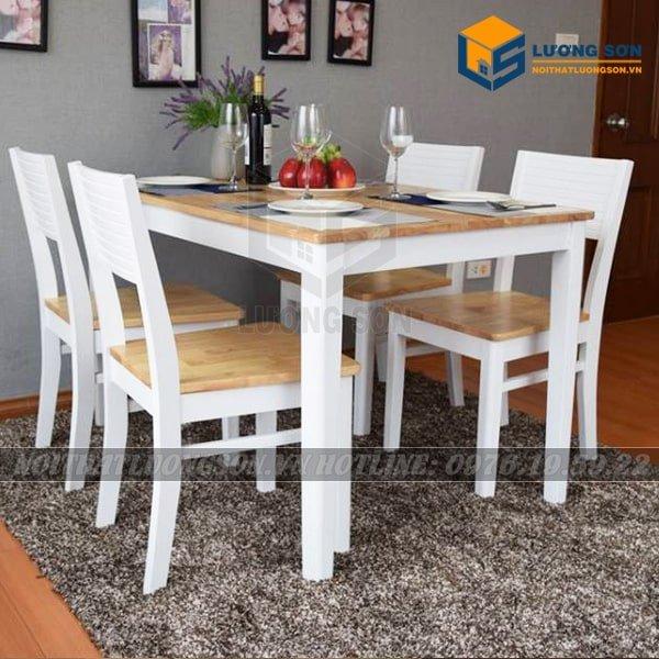 Bộ bàn ăn Cherry 4 ghế – BA15 đáp ứng được yêu cầu về thẩm mỹ và cả giá thành. Sản phẩm được làm từ gỗ tự nhiên đã qua tẩm sấy đảm bảo khả năng chống mối mọt, cong vênh.