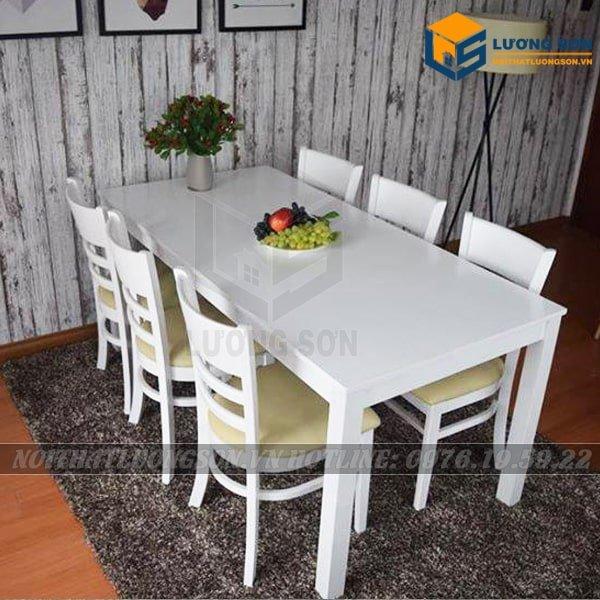 Bàn ghế quán ăn, Bộ bàn ăn Cabin 6 ghế màu trắng – BA21tại Nội Thất Lương Sơn