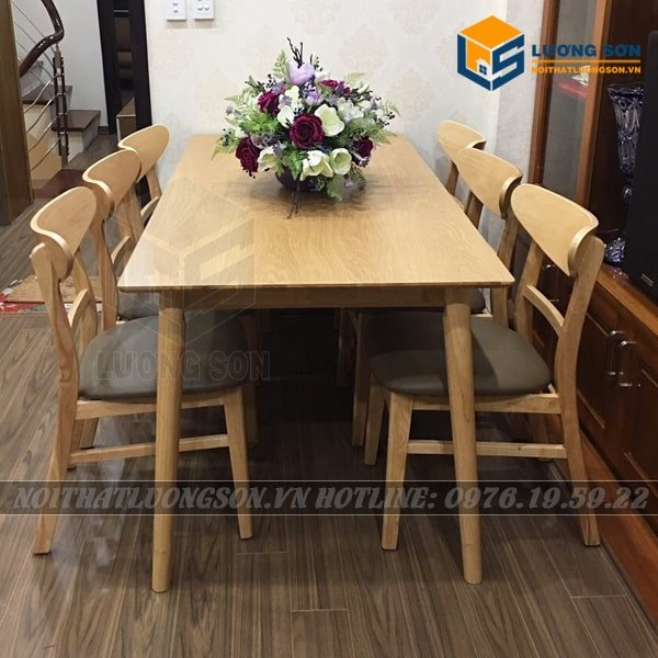 Bộ bàn ăn Mango 6 ghế màu tự nhiên - BA24 gam màu gỗ tự nhiên hết sức đẹp mắt