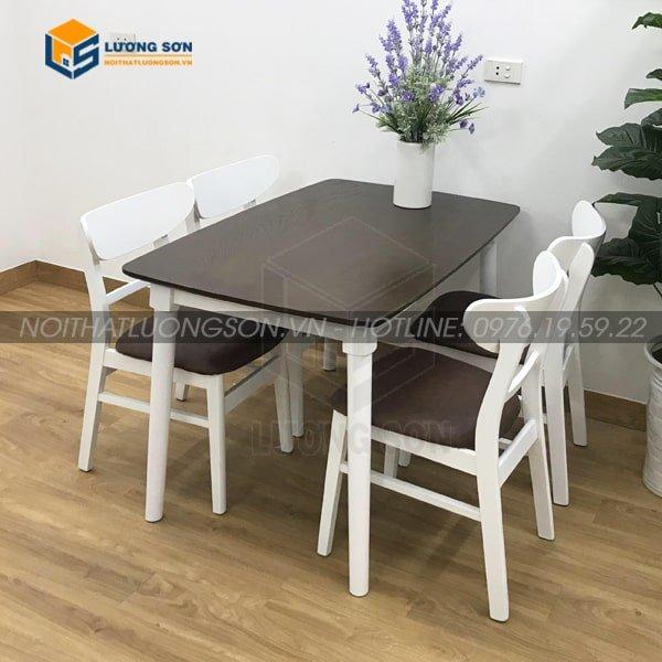 Bộ bàn ăn Mango trắng nâu 4 ghế là sự lựa chọn không thể thiếu trong căn bếp nhà bạn