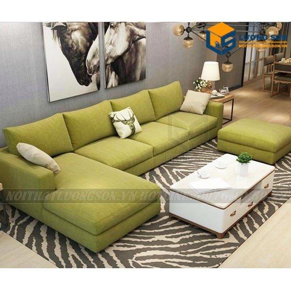Sofa góc nỉ chữ L – SFG23 màu xanh lá mạ