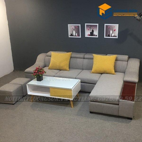 Bộ sản phẩm Sofa góc nỉ tay gỗ – SFG24 rất được ưa chuộng trên thị trường hiện nay