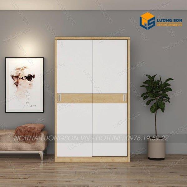 Sản phẩm tủ quần áo gỗ cánh lùa 1m2 viền vàng - TA15