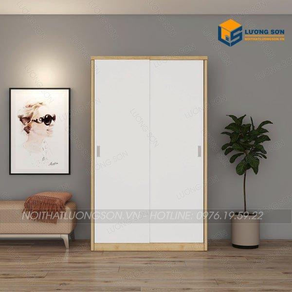 Tủ áo TA13 được thiết kế dạng cánh lùa mở ngang với màu sắc cánh trắng viền vàng giúp không gian trở lên rộng hơn