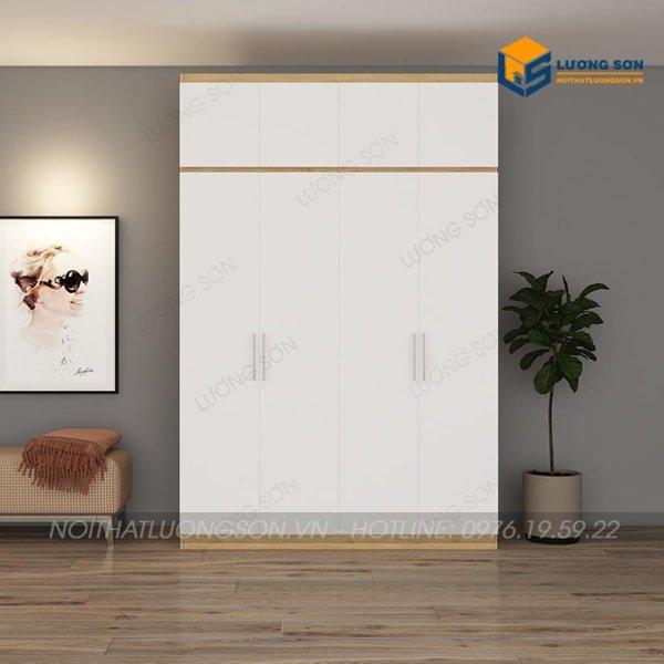 Tủ áo 2 tầng 1m6x2m4 cánh trắng viền vàng 388