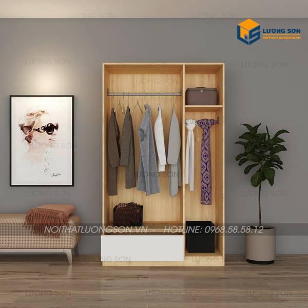 Tủ quần áo 1m2 gỗ MDF viền vàng có ngăn kéo nổi TA10