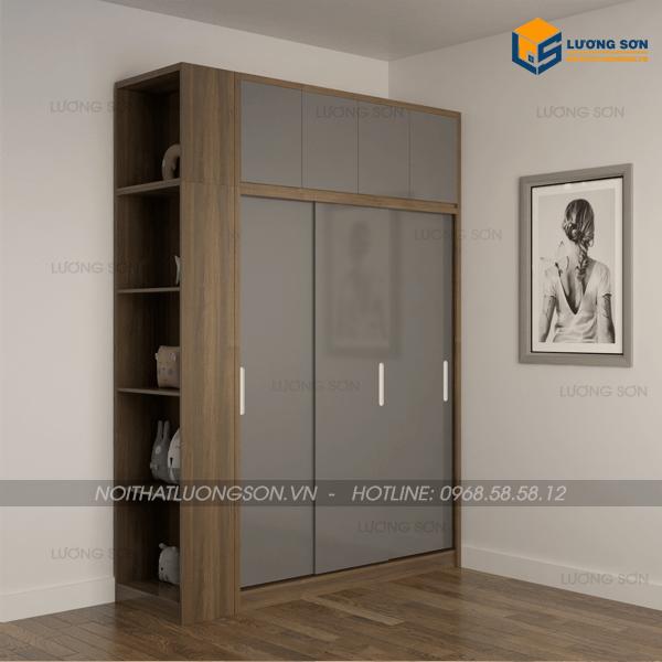 Không gian ngày càng chật hẹp, một chiếc tủ áo TA22 kết hợp kệ trang trí và tủ quần áo là sự lựa chọn hàng đầu của các căn hộ chung cư, nhà phố