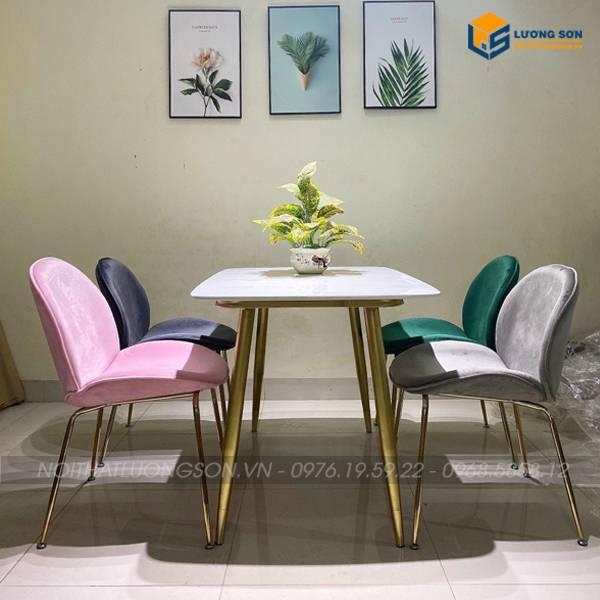 4 màu chủ đạo ghế Gubi: màu hồng, màu ghi đậm, màu ghi nhạt, màu xanh rêu